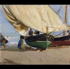 Pescadores barcas varadas. Valencia. 1910
