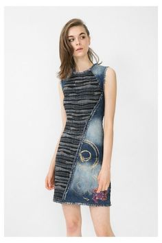 Women's denim pinafore dress with fringe Desigual. Discover the fall-winter 2016 collection!