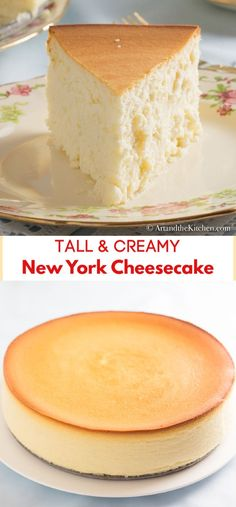 Tall and creamy new york cheesecake is my all time favourite dessert so smooth and creamy plain simple crustless cheesecake if you prefer you can easily add a crust the best cheesecake i ve ever made! new york style cheesecake Best Cheesecake, Easy Cheesecake Recipes, Easy Cookie Recipes, Baking Recipes, Cheesecake Bites, New York Times Cheesecake Recipe, Tres Leches Cheesecake Recipe, Creamy New York Cheesecake Recipe, Crustless Cheesecake Recipe