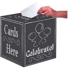 Your guests will get a kick out dropping well-wishing cards into this 12 inch square chalkboard gift card box. Easy to assemble and includes chalk to write mess Chalkboard Party, Chalkboard Decor, Graduation Card Boxes, Graduation Ideas, Graduation 2016, Graduation Decorations, Wedding Decorations, Gadgets, Gift Card Boxes