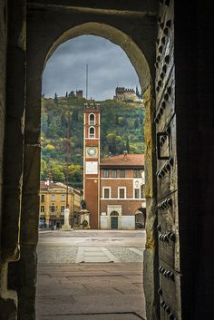 Marostica, Province of Vicenza , Veneto region Italy. This is the town where the human chess game is played. Good wine, good food. Long walk up to the castle.