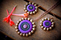 Purple and gold terracotta pendant and dangling earrings, ethnic jewelry, antique gold, womens jewelry, festival jewelry, contemporary by Mithicotta on Etsy