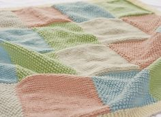 Pastel Patchwork Hand Knitted Baby Blanket by BlueberryBarnKnits, £45.00