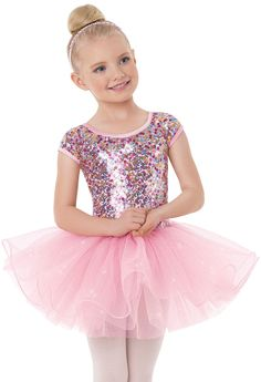 Wednesday Tyke Ballet 9013 Weissman™   Confetti Sequin Cap Sleeve Dress