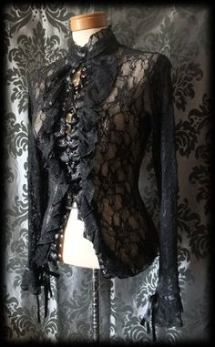 Goth Black Sheer Lace Up Fitted WOEFUL Tie Cuff Corset Top Blouse 8 10 Victorian - £29.00