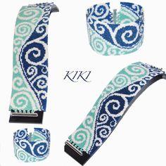 my swirls of the moonlight peyote bracelet is ready #peyotestitch #beadpattern #beadedjewelry #beadedbracelet #geometric #swirl #delicabeads #mydesing #pattern #miyukibeads #moonligth #turquoise #blue #swirly #bracelet #jewelry #jewellerydesign #beaded #unique #handmade #delicabeads #handmadejewelry #handmadejewellery