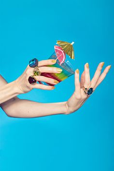 """The Piece Of Statement Jewelry That Says, """"Let's Drink!"""" #refinery29 http://www.refinery29.com/statement-cocktail-rings#slide-6 David Yurman Venetian Quatrefoil ring; Kenneth Jay Lane Polished Gold/Crystal Odd Shape Ruby Center and Gunmental Sapphire/Amy rings."""