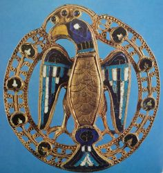 Eagle brooch of enamelled gold from the treasury of the Empress Gisela, wife of Conrad II, Germany. Typical of jewellery of the Ottonian dynasty of German Kings, AD; date close to The eagle (a frequent German symbol) wears a little crown of sapphires. Medieval Jewelry, Ancient Jewelry, Viking Jewelry, Enamel Jewelry, Antique Jewelry, German Symbols, Ottonian, Renaissance, High Middle Ages