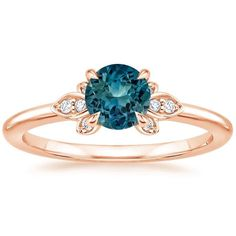 Sapphire Fiorella Diamond Ring in 14K Rose Gold with 5.5mm Round Teal Sapphire #diamondring #gold14kbracelet #sapphireengagementrings
