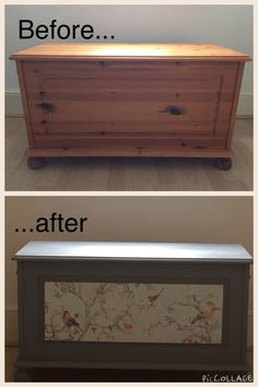Painted & decoupaged blanket box
