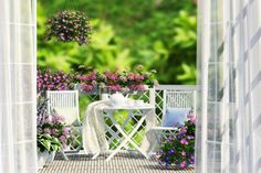 Balcony, white furniture and flowers Wicker Furniture, White Furniture, Outdoor Furniture Sets, Outdoor Decor, Balcony Flowers, Balcony Plants, Beautiful Gardens, Beautiful Flowers, Balcony Bench