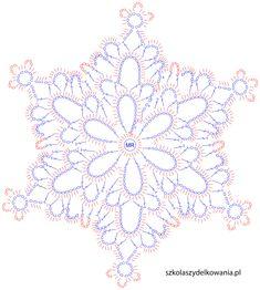 śnieżynka, szydełkowa śnieżynka, crochet snowflake, Szkoła Szydełkowania, szydełkowanie, śnieżynka pale, pale snowflake