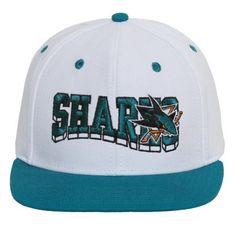 San Jose SharksLogo White and Teal Adjustable Snapback, Men's, Green