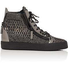 Giuseppe Zanotti Double-Zip High-Top Sneakers ($750) ❤ liked on Polyvore featuring men's fashion, men's shoes, men's sneakers, silver, mens black leather high top sneakers, mens lace up shoes, mens python shoes, mens metallic gold sneakers and mens high top sneakers