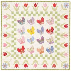 Butterfly Garden Quilt | AllPeopleQuilt.com - Butterflies dance amid spring flowers on this colorful appliquéd quilt. Take the guesswork out of hand appliqué using an easy-to-follow overlay method to accurately position each pattern piece.