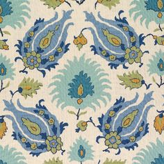 Kashmiri in Peridot/Aquamarine from Brunschwig & Fils #fabric #linen #blue