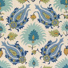 Kashmiri in Peridot/Aquamarine from Brunschwig & Fils #fabric #linen #blue