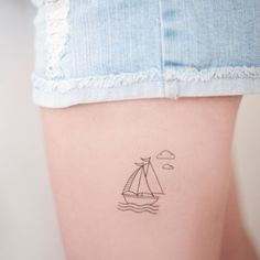 Illustrated Sailing boat and clouds temporary tattoo by RubitTattoos