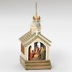 Roman 12 Musical Led Nativity Church Fig Kings Rotate without Battery
