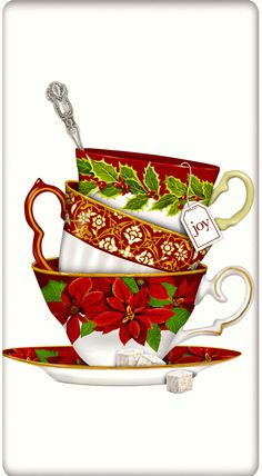 Holiday Christmas Poinsettia Teacups Cotton Flour Sack Dish Tea Towel - Mary Lake Thompson x Christmas Tea Party, Christmas Napkins, Christmas Poinsettia, Noel Christmas, Christmas Pictures, All Things Christmas, Vintage Christmas, Christmas Crafts, Christmas Decorations