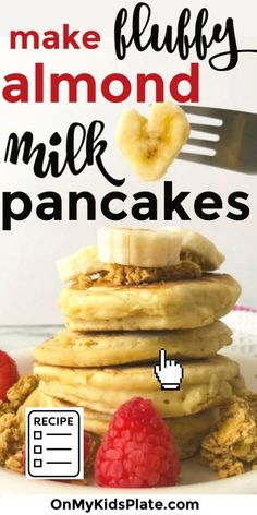 Light and fluffy pancakes with almond milk are made totally simple with this easy pancake recipe. This recipe will help you make delicious pancakes that are fluffy and perfect for kids, using kitchen staples in your pantry to make them from scratch. #pancakes #fluffypanckaes #almondmilk #easybreakfast Almond Milk Pancakes, Dairy Free Pancakes, Tasty Pancakes, Breakfast Items, Breakfast For Kids, Breakfast Recipes, Light And Fluffy Pancakes, Meals Kids Love