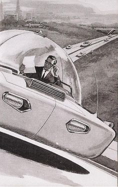 Online Traffic School by Improv — Compilation of Vintage Flying Car Concepts. Online Traffic School by Improv — Compilation of Vintage Flying Car Concepts. Space Odyssey, Comics Illustration, World Of Tomorrow, Flying Car, Exploration, Atomic Age, Science Fiction Art, Googie, Space Travel