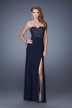 La Femme 20680 Strapless Side Slit Navy Full Length Homecoming Dresses