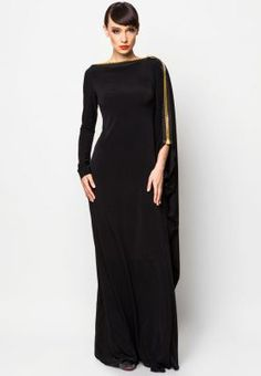 EVENING ZIP NECK MAXI DRESS A classic black evening gown with a flattering structure and gold zip across the neck and down the sleeves. Islamic Fashion, Muslim Fashion, Modest Fashion, Modest Wear, Modest Outfits, Estilo Glamour, Abaya Designs, Abaya Fashion, Mode Hijab