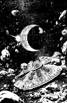 Millennium Falcon The Millennium Falcon as it first encounters the Death Star. Created by Reilly Brown || Tumblr