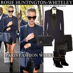 Rosie Huntington-Whiteley in blue and black blazer, black leather asymmetric mini skirt, black suede chain ankle boots with navy bag #rosiehuntingtonwhiteley #fashion #style #parisfashionweek #model #navy #fall2014 #trend #outfit