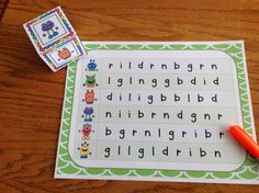 Monster Letters$- build letter fluency with Monster Letters-roll the monster dice and read that row-Great for Lit Centers and RTI Groups- student tracking sheets included