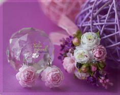 юлия коваль Chiffon, Pearl Earrings, Pearls, Mini, Cold Porcelain, Flowers, Silk Fabric, Pearl Studs, Sheer Chiffon