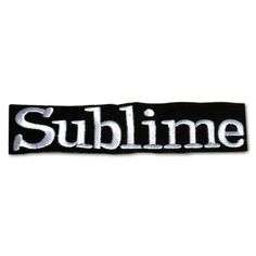 This patch features the alternative rock band name Sublime embroidered in white on a black velveteen background. The patch is die cut to 4 3/4 inches wide by 1 1/2 inches high. Iron-on or sew-on to je