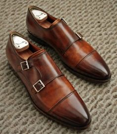 Brown double monk strap #mens #shoes #sleek #fashion