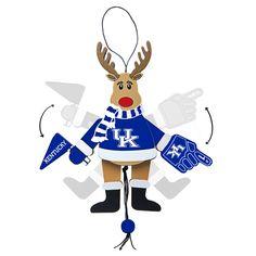Kentucky Wildcats Ornament - Cheering Reindeer - Wood