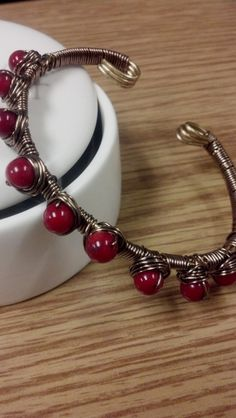 Copper Wire Wrapped Adjustable Bangle Bracelet  by jjjoolzdesigns,