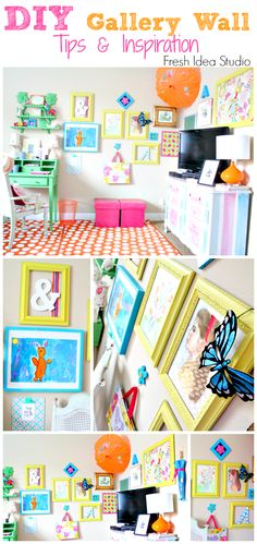 How to create a Bright BOLD Gallery Wall you will love {tips  inspiration from Fresh Idea Studio}