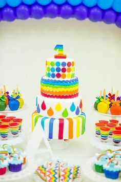 Modern rainbow kids birthday party We adore this and that it was