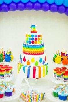 Rainbow Birthday Party via Kara's Party Ideas | Kara'sPartyIdeas.com #Rainbow #Party #Ideas #Birthday #Planning #Supplies (8)