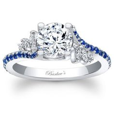 Barkev's 14K White Gold and Blue Sapphire Flare Diamond Prong Set Engagement Ring