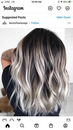 Silver Ash Hair, Dark Roots Blonde Hair Balayage, Dark Roots Hair, Fall Blonde Hair, Blonde Hair With Roots, Hair Color Balayage, Hair Highlights, Dark Hair, Pretty Hair Color