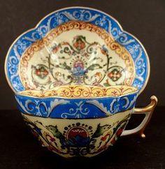 Antique Dresden Quatrefoil Demitasse Cup & Saucer