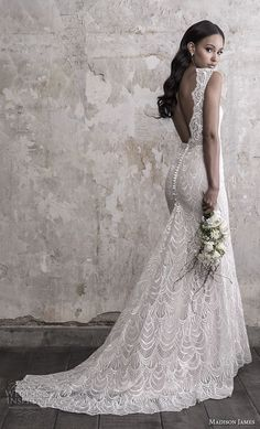 madison james fall 2018 bridal sleeveless with strap v neck full embellishment elegant fit and flare sheath wedding dress open back chapel train bv -- Madison James Fall 2018 Wedding Dresses Open Back Wedding Dress, Wedding Dresses With Straps, Fit And Flare Wedding Dress, Fall Wedding Dresses, Wedding Dress Sleeves, Elegant Wedding Dress, Wedding Gowns, Wedding Ceremony, Boho Lace Wedding Dress
