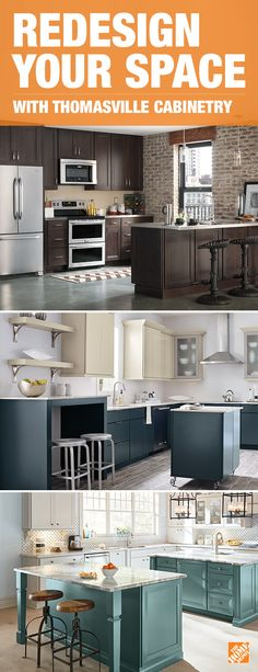 Combine style and function with Thomasville cabinets for your next kitchen renovation. Kitchen Redo, New Kitchen, Kitchen Remodel, Kitchen Dining, Kitchen Cabinets, White Cabinets, Home Depot Kitchen, Soapstone Kitchen, Cheap Kitchen