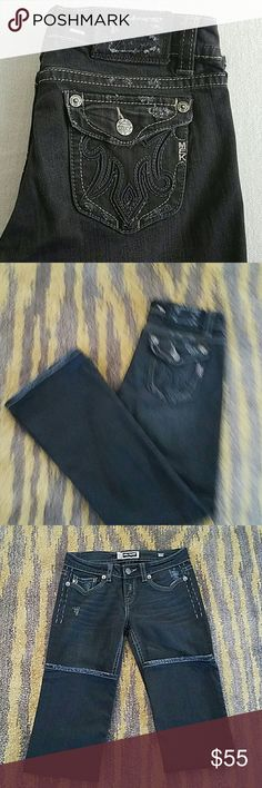 """Mek Oaxaca Boot Cut Black Low Rise Jeans SZ 30 Excellent condition, No Hem Wear, Professionally Hemmed to Approx 30"""" Inseam, All distressing is from Factory  (light Whiskering & distressing), Contrast Stitching, Silver Rivets/Buttons, Pre-faded Black Color, 98% Cotton / 2% Spandex, Posh does not allow returns for size so please ask all questions prior to purchase. Thanks for looking MEK Jeans Boot Cut"""
