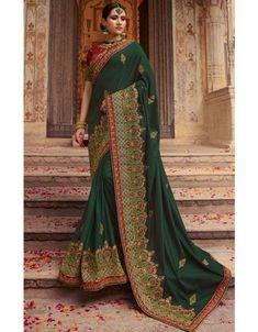 8a074f90db Pine Green Designer Silk Saree Designer Silk Sarees