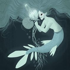 A merman – combining the #100dayproject with #mermay ♂️ . . . . #mermay2018 #the100dayproject #illustration #mats100days #darkart #teal…