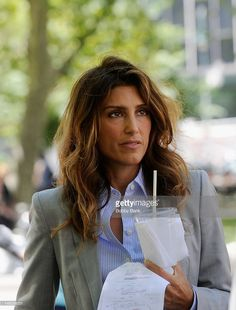 Jennifer Esposito on location for the TV series 'Blue Bloods' on the Streets of Manhattan on July 25, 2012 in New York City.