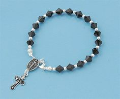 """3mm Catholic Black Oxidized Sterling Silver Rosary Bead 16mm Cross 7.5"""" Anklet Bracelet THE ICE EMPIRE. $29.95. Bead Size: 3mm. Italian .925 Sterling Silver. Overall length 7.5"""". Cross length: 16mm. A perfect for match for your Necklace Rosary"""