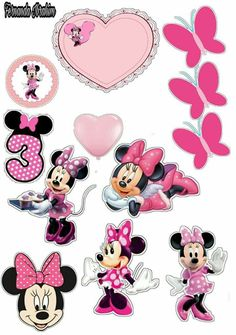 Minnie Mouse Cupcake Toppers, Minnie Mouse Birthday Decorations, Minnie Mouse Theme, Disney Birthday, Frozen Birthday, Scrapbook Borders, Disney Fairies, Mickey Party, Mouse Parties